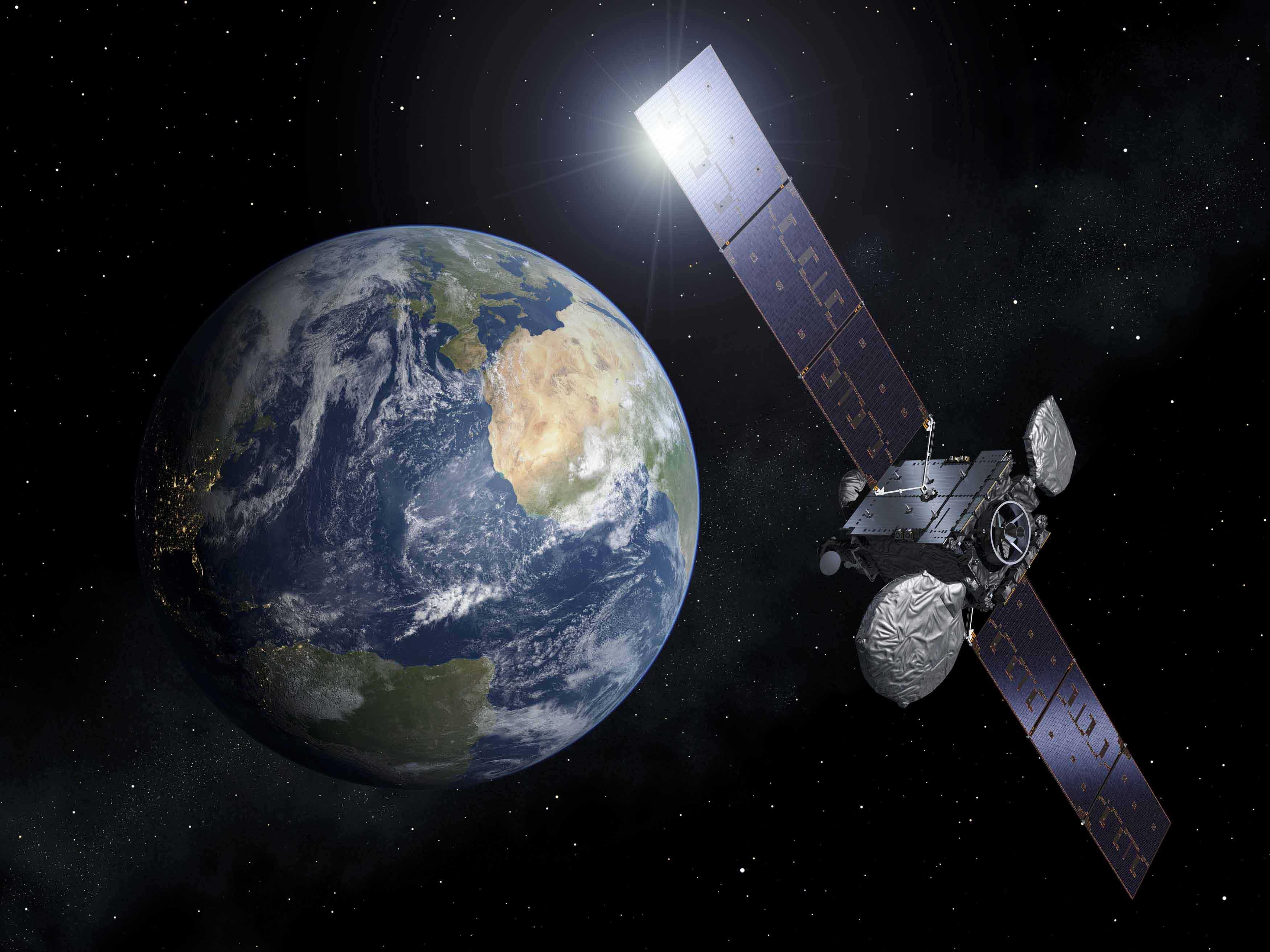 Satélite y la Tierra