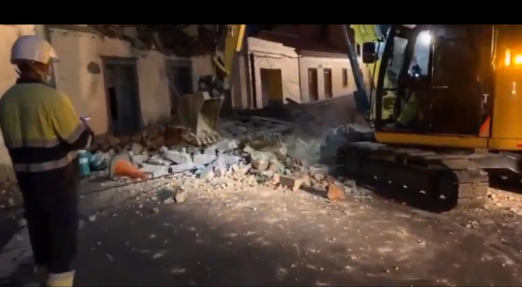 Derrumbe de una casa en la carretera del Centro. Santa Brígida. Gran Canaria