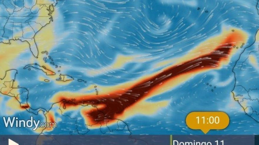 Nube de dióxido de azufre procedente del volcán La Soufriere