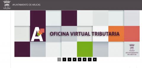 Pantalla de la Oficina Virtual Tributaria de Arucas