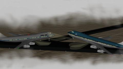 Recreación accidente aéreo en Los Rodeos