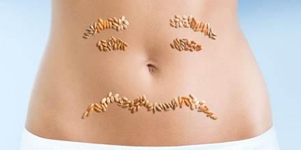 Cereales sobre una barriga