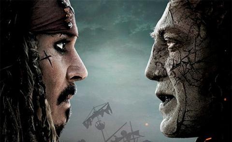 Johnny Depp y Javier Bardem en Piratas del Caribe