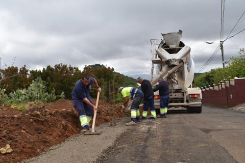 Obras en la carretera en Los Realejos