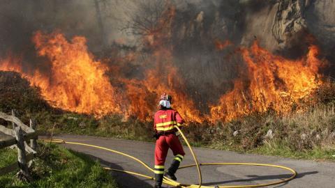 Un bombero en un incendio en el campo