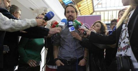 Pablo Iglesias rodado de periodistas