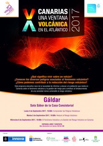 Cartel sobre las jornadas volcanológicas de Gáldar
