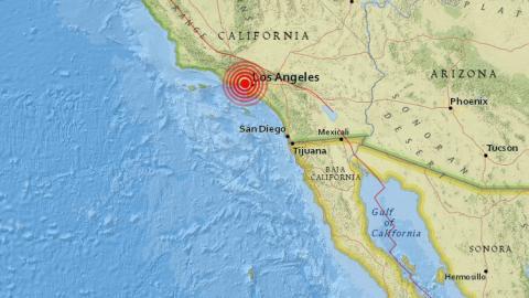 Mapa de ubicación del sismo de los Ángeles