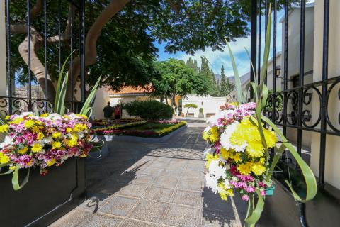 Flores en el cementerio de Adeje