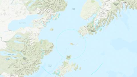 Epicentro del sismo de Alaska