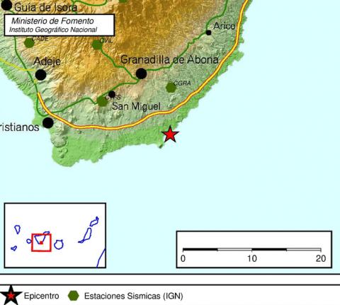 epicentro del terremoto en el sur de Tenerife