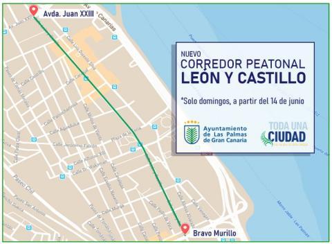 El Ayuntamiento habilita para el peatón la calle León y Castillo