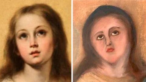Inmaculada de Murillo a la izquierda, junto al primer intento de restauración de la obra