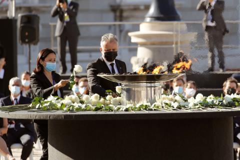 Ángel Víctor Torres en el homenaje de Estado a las víctimas del Coronavirus. Madrid