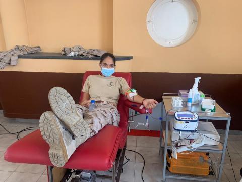 Donante de sangre en la Base Naval de Las Palmas de Gran Canaria