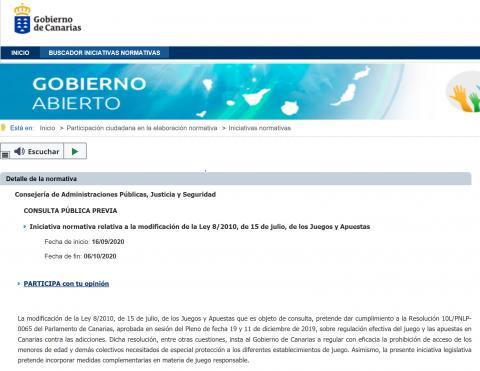 Consulta pública la modificación de la Ley de Juegos y Apuestas. Canarias