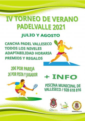 Valleseco abre la inscripción para la IV Liga de verano Pádel Valle