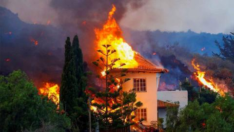 Vivienda afectadas por la lava del volcán de La Palma